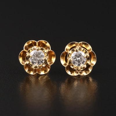 14K Gold 0.46 CTW Diamond Buttercup Earrings