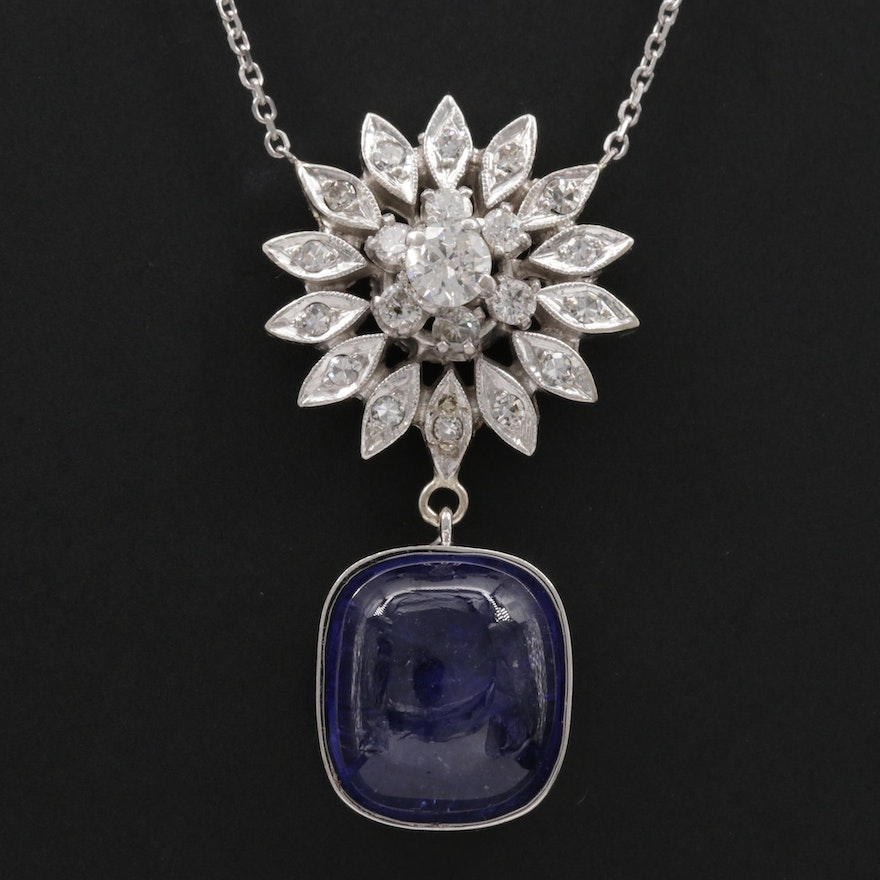 14K Gold 8.78 CT Tanzanite and Diamond Necklace