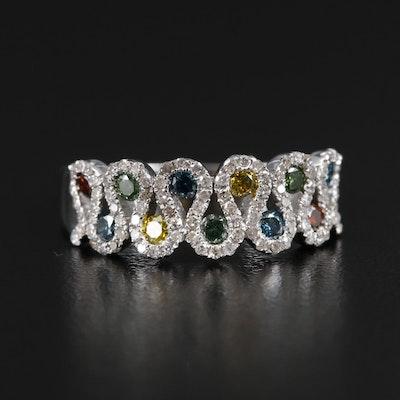 14K Gold Diamond Band with Multi-Color Diamonds