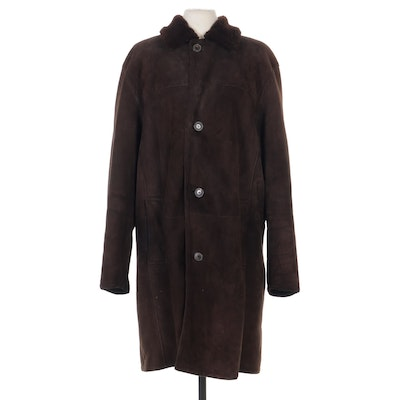 Women's Gianfranco Ferre Brown Suede Shearling Coat, 1980s Vintage