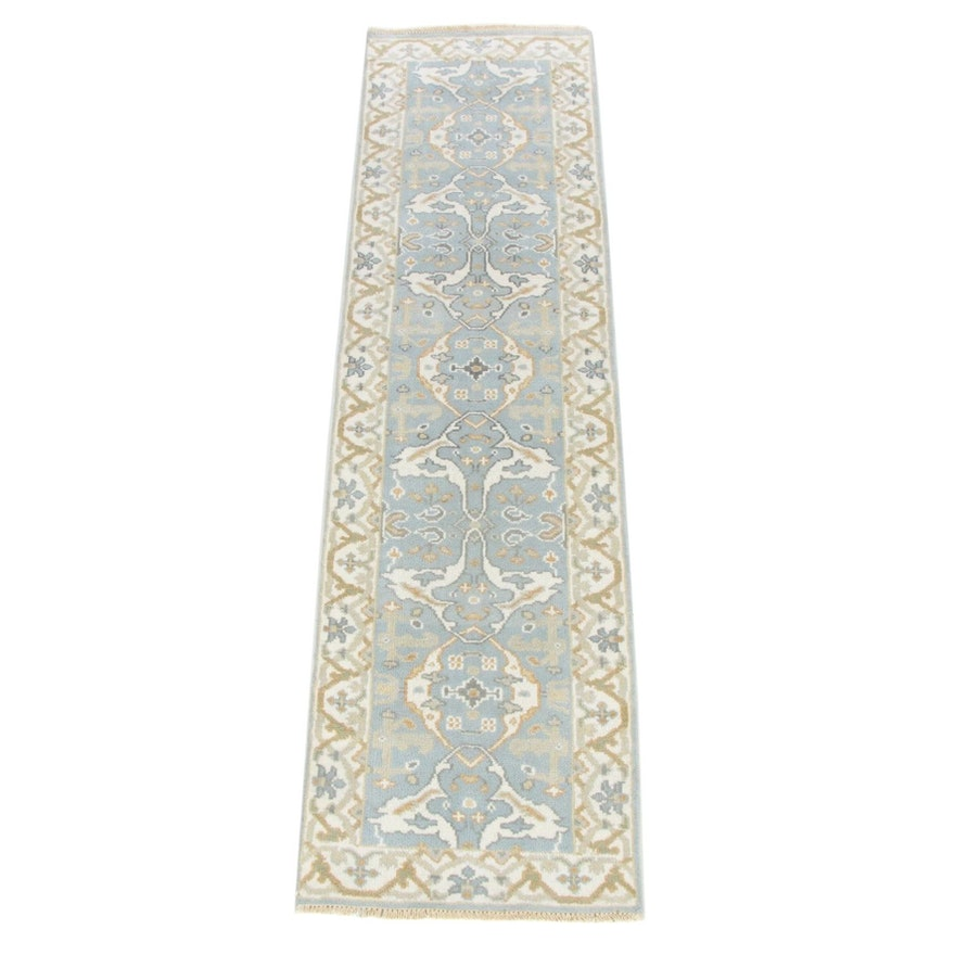 2'6 x 9'6 Hand-Knotted Indo-Turkish Oushak Runner