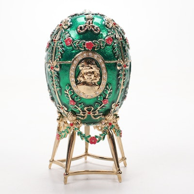 Fabergé Style Enamel and Gilt Egg on Stand