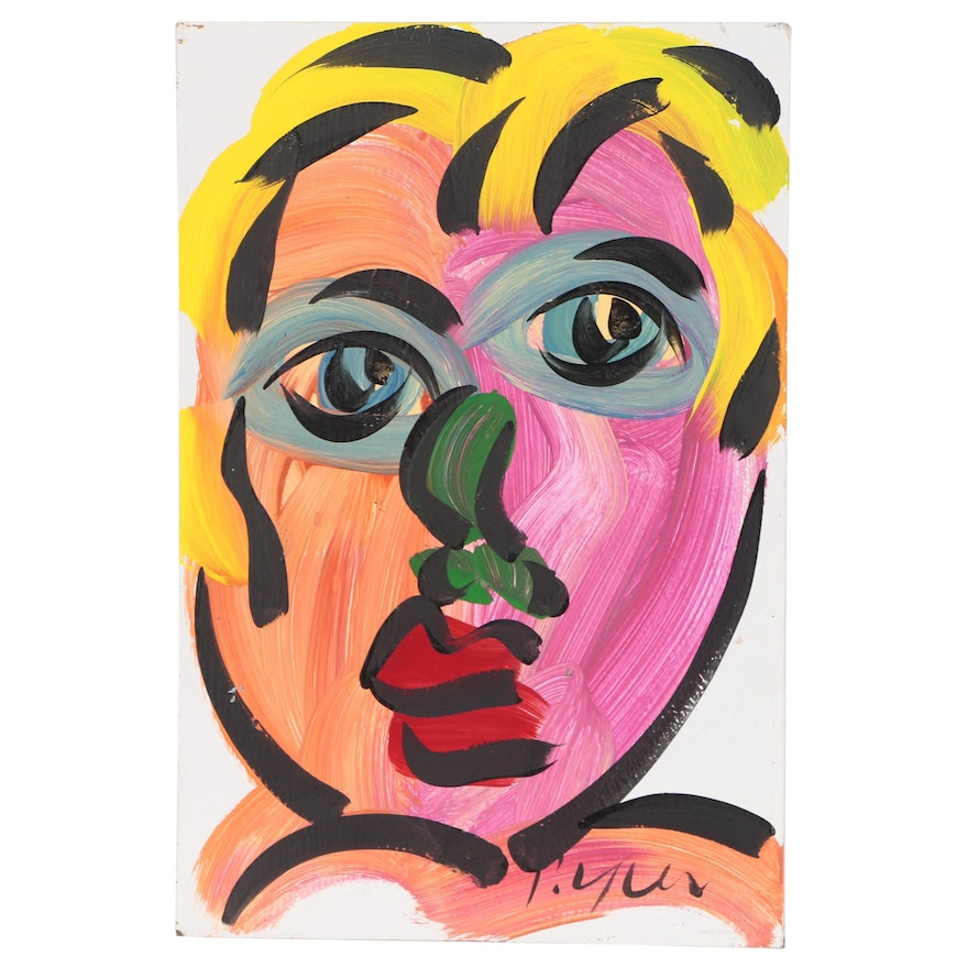 Peter Keil Abstract Acrylic Portrait Painting, Late 20th Century