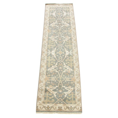 2'8 x 9'11 Hand-Knotted Indo-Turkish Oushak Runner