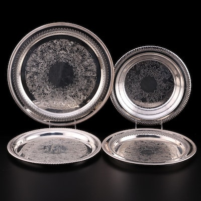"""William Rogers """"English Gadroon"""" Silver Plate Pierced Trays and Other Bowl"""