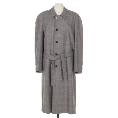 Brioni Houndstooth Single-Breasted Trench Coat with Tie Sash Belt