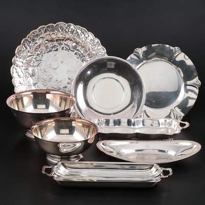 Reed & Barton Silver Plate Repoussé Platter and Other Silver Plate Serveware