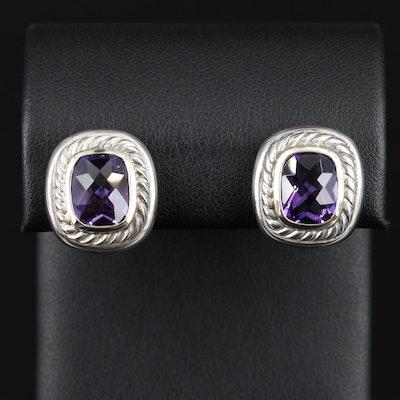 David Yurman Sterling Silver Amethyst Earrings with 14K Accents