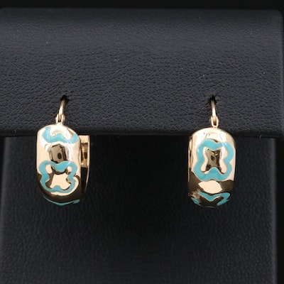 14K Gold Enamel Hoop Earrings