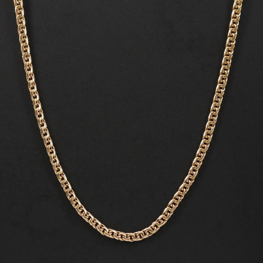19K Gold Fancy Link Chain Necklace
