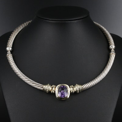 David Yurman Sterling Silver Amethyst and Iolite Necklace with 14K Accents