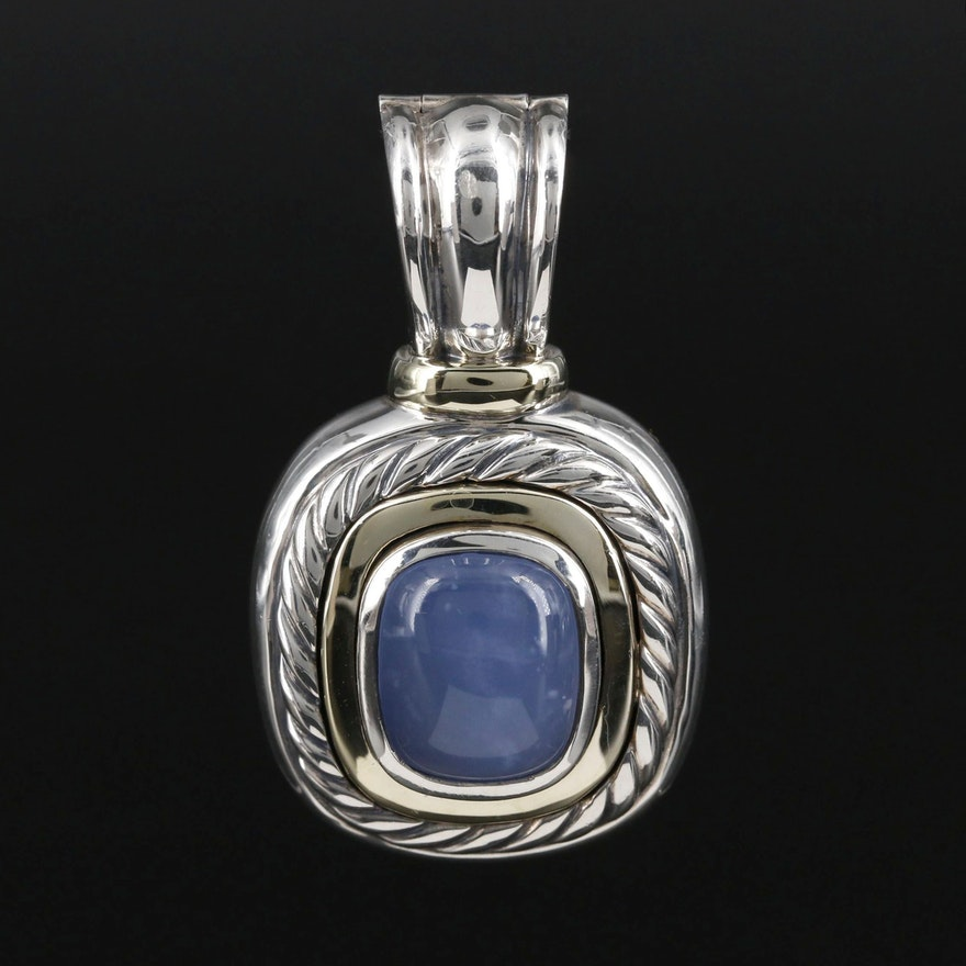 David Yurman Sterling Silver Chalcedony Enhancer Pendant with 14K Accents