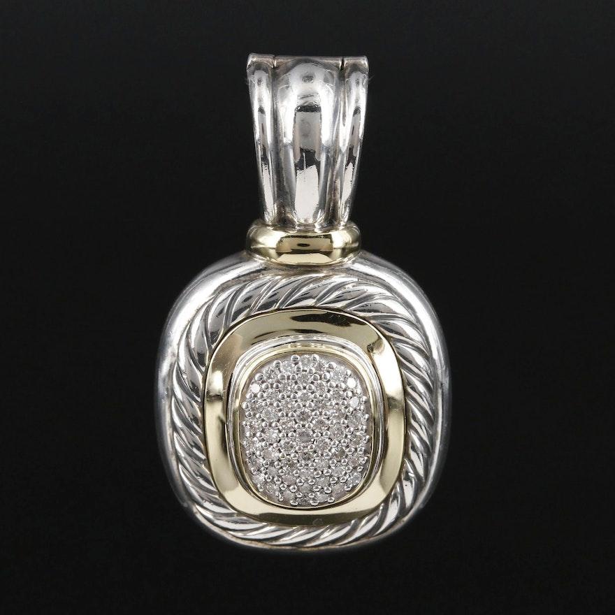 "David Yurman ""Albion"" Sterling Silver Diamond Enhancer Pendant with 18K Accents"