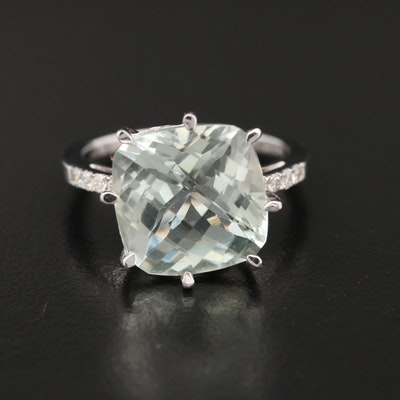 Sterling Silver Praseolite and Diamond Ring