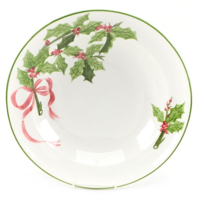 Ceramic Serving Bowl with Holly Motif and Green Trim, Mid to Late 20th Century