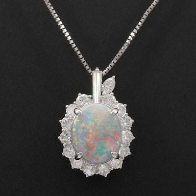 Platinum 2.62 CT Opal and 1.06 CTW Diamond Pendant Necklace