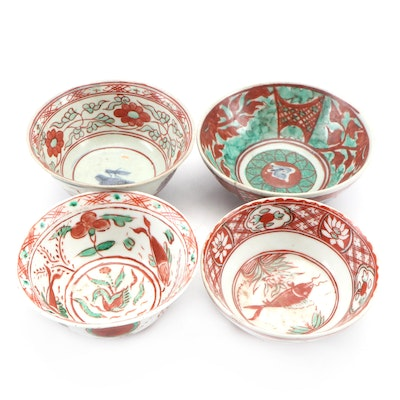 Chinese Zhangzhou Ware Red, Green, and Blue Porcelain Bowls, Ming Dynasty