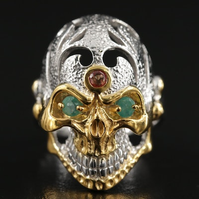 Sterling Emerald and Fancy Sapphire Skull Ring