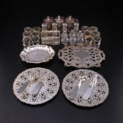 Crescent and Other Silver Plate Trivets, Napkin Rings and Table Accessories