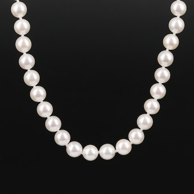 Mikimoto 900 Silver Pearl Necklace with Box
