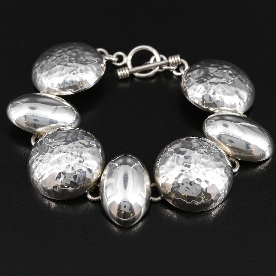 Sterling Silver Hammered Oval and Circular Link Bracelet