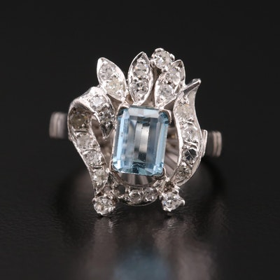 14K Gold Aquamarine and Diamond Ring
