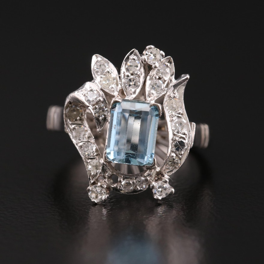 14K Gold Aquamarine and Diamond Ring