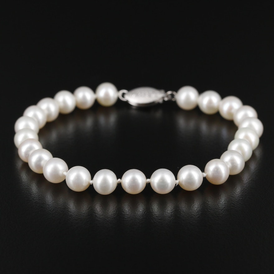 Imperial 14K Gold Pearl Single Strand Bracelet