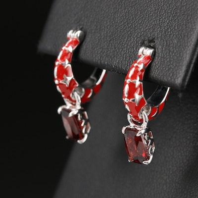 Sterling Silver Garnet and Enamel Hoop Earrings with Dangles