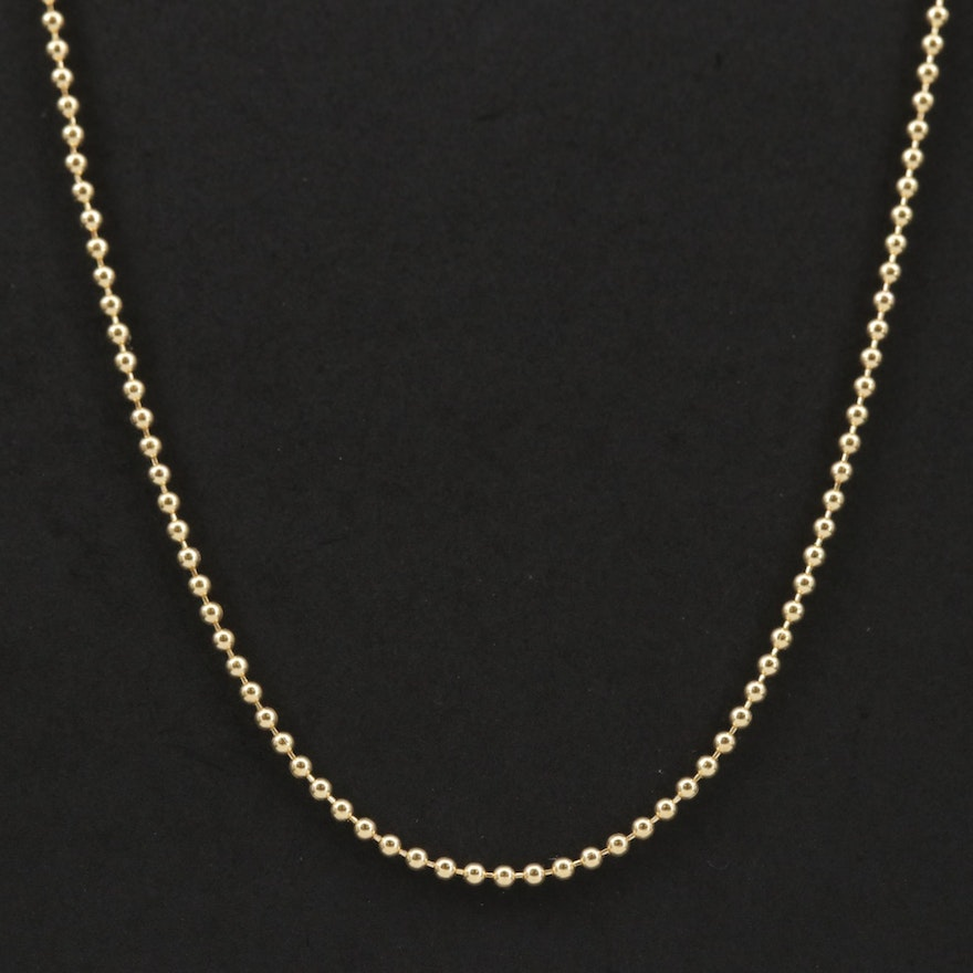 14K Gold Bead Chain Necklace
