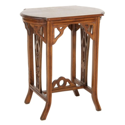 Bench-Made Art Nouveau Style Walnut Side Table
