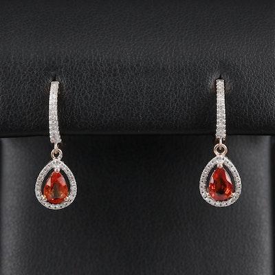 14K Gold Sapphire and Diamond Drop Earrings