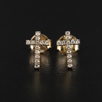 14K Gold Diamond Cross Stud Earrings