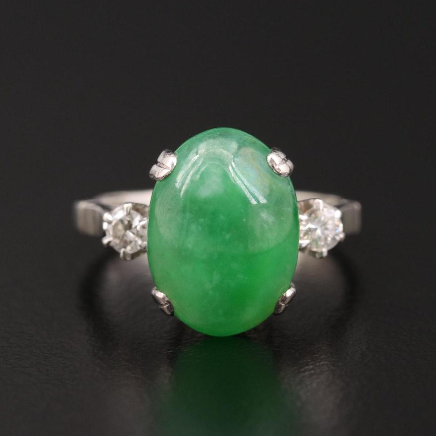 18K Gold Jadeite and Diamond Ring