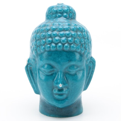 Southeast Asian Blue Glazed Ceramic Head of the Buddha