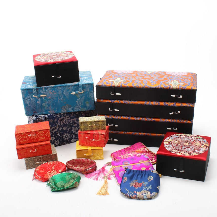 Chinese Silk Covered Boxes and Jewelry Pouches