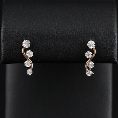 10K Gold Diamond Drop Earrings