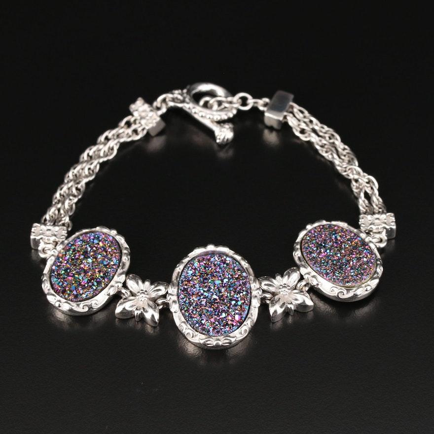 Sterling Silver Druzy Quartz Bracelet