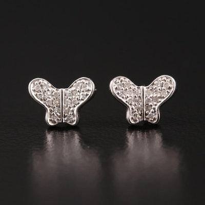 14K Gold Diamond Butterfly Stud Earrings