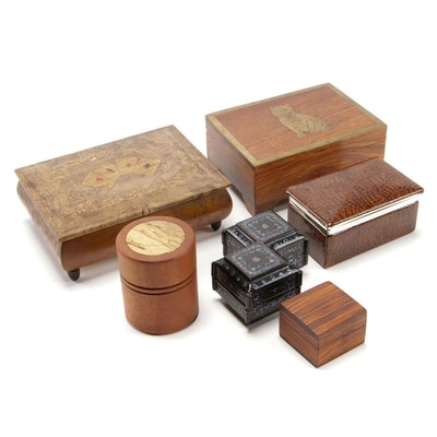 Geoff Cook Turned Rosewood and Fig Canister with Other Decorative Boxes