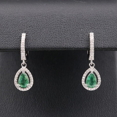 14K Gold Emerald and Diamond Drop Earrings