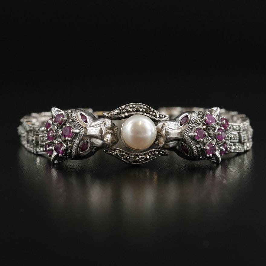 Sterling Silver Pearl, Ruby and Marcasite Leopard Bracelet