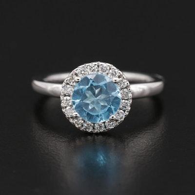 14K Gold Topaz and Diamond Heart Ring