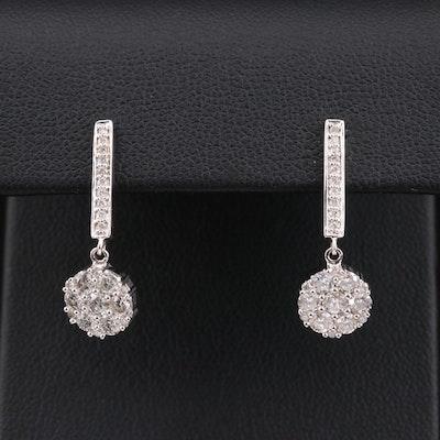 14K Gold 1.08 CTW Diamond Drop Earrings