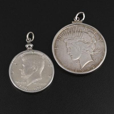 1922-S Peace Dollar and 1976 Kennedy Half Dollar Pendants