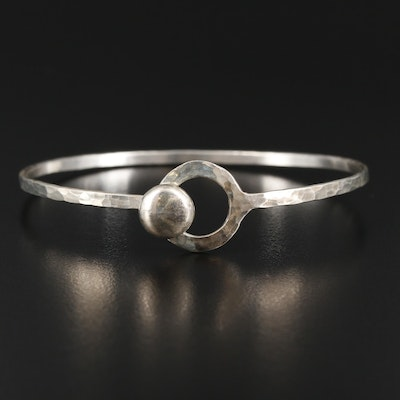 Sterling Silver Textured Hook and Eye Bracelet