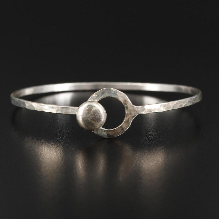 Sterling Silver Textured Hook and Eye Bracelet