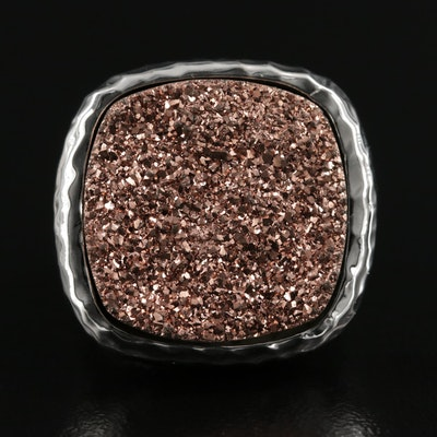 Sterling Silver Druzy Ring With Hammered Style Shank