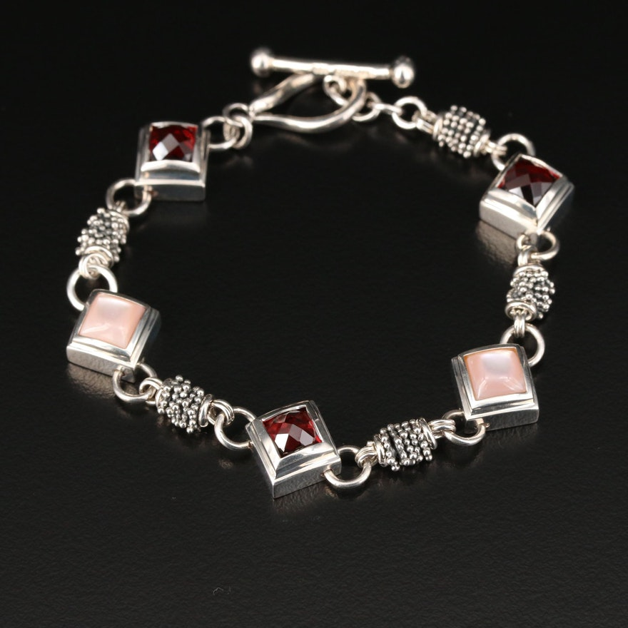Michael Dawkins Sterling Silver Garnet and Mother of Pearl Link Bracelet