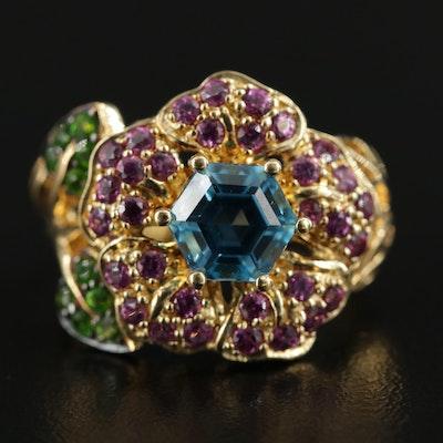 Sterling Silver Topaz, Rhodolite Garnet, and Tsavorite Garnet Floral Ring